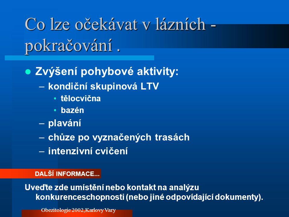 Obezitologie 2002,Karlovy Vary Co lze očekávat v lázních - pokračování. Zvýšení pohybové aktivity: –kondiční skupinová LTV tělocvična bazén –plavání –