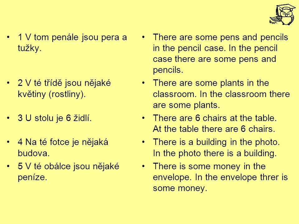 1 V tom penále jsou pera a tužky. 2 V té třídě jsou nějaké květiny (rostliny).