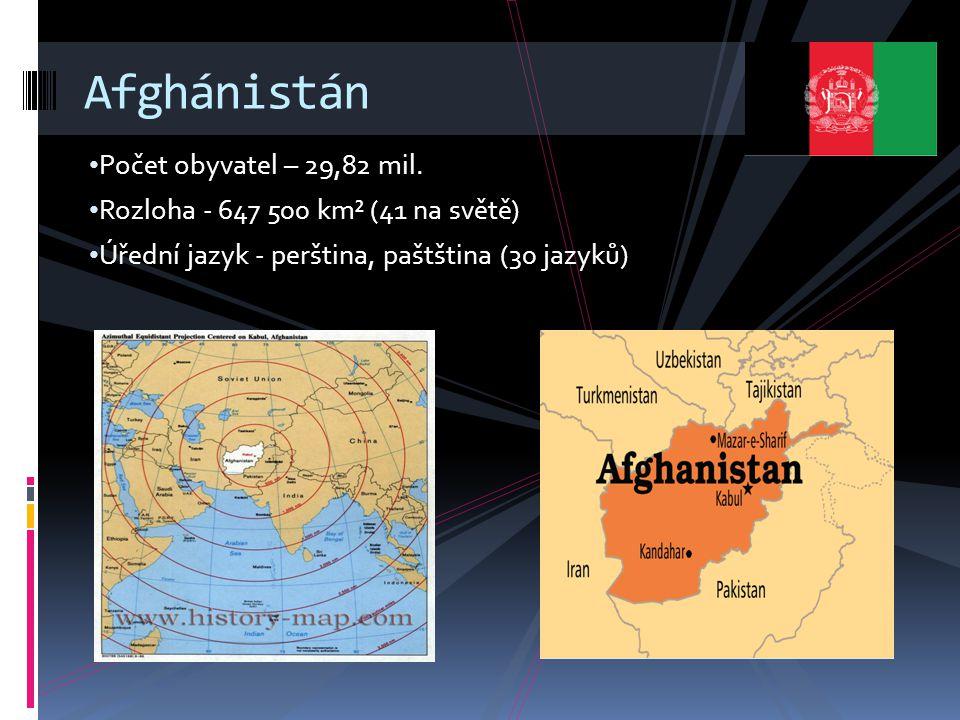 Počet obyvatel – 29,82 mil. Rozloha - 647 500 km² (41 na světě) Úřední jazyk - perština, paštština (30 jazyků) Afghánistán