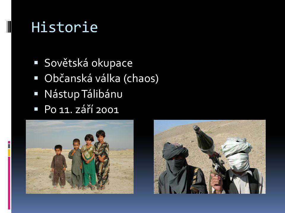 1978 - afghánská komunistická strana převzala vládu v zemi (slabá) 1979 – vstup sovětských vojsk Partyzánský odboj Mudžahedínů 1989 – sověti stahují vojska domů (Gorbačov) Neúspěšná okupace stála životy více než 15000 vojáků a miliardy dolarů Afghanistán zůstal v rukou mudžahedínských vůdců (soupeřili o moc) Sovětská okupace