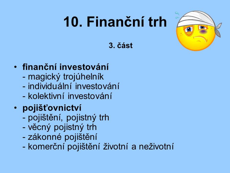 10. Finanční trh 3. část finanční investování - magický trojúhelník - individuální investování - kolektivní investování pojišťovnictví - pojištění, po