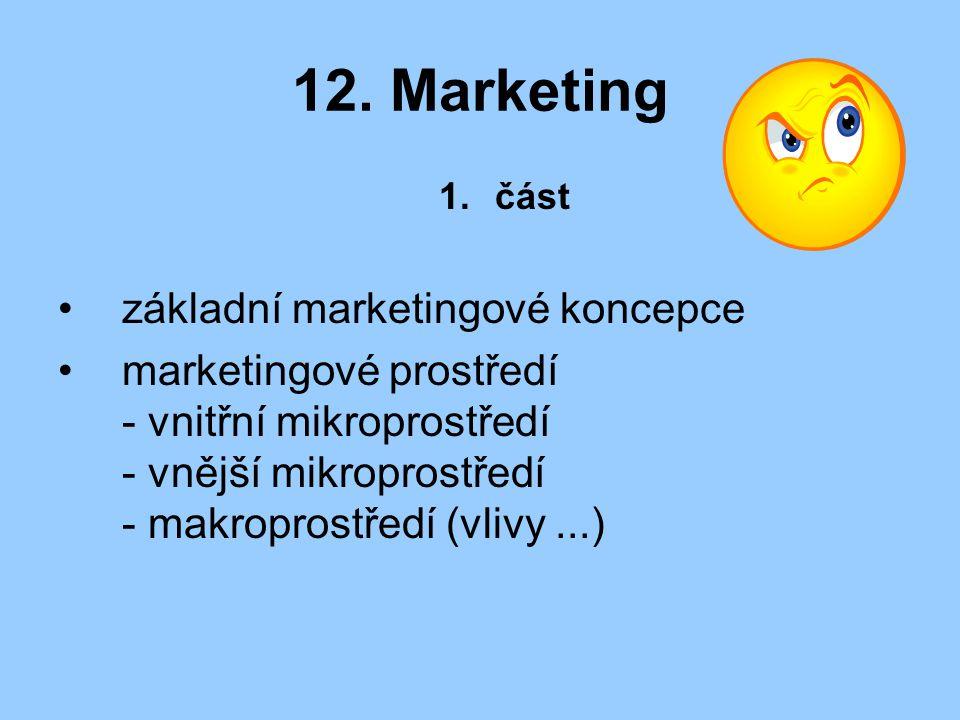 12. Marketing 1.část základní marketingové koncepce marketingové prostředí - vnitřní mikroprostředí - vnější mikroprostředí - makroprostředí (vlivy...