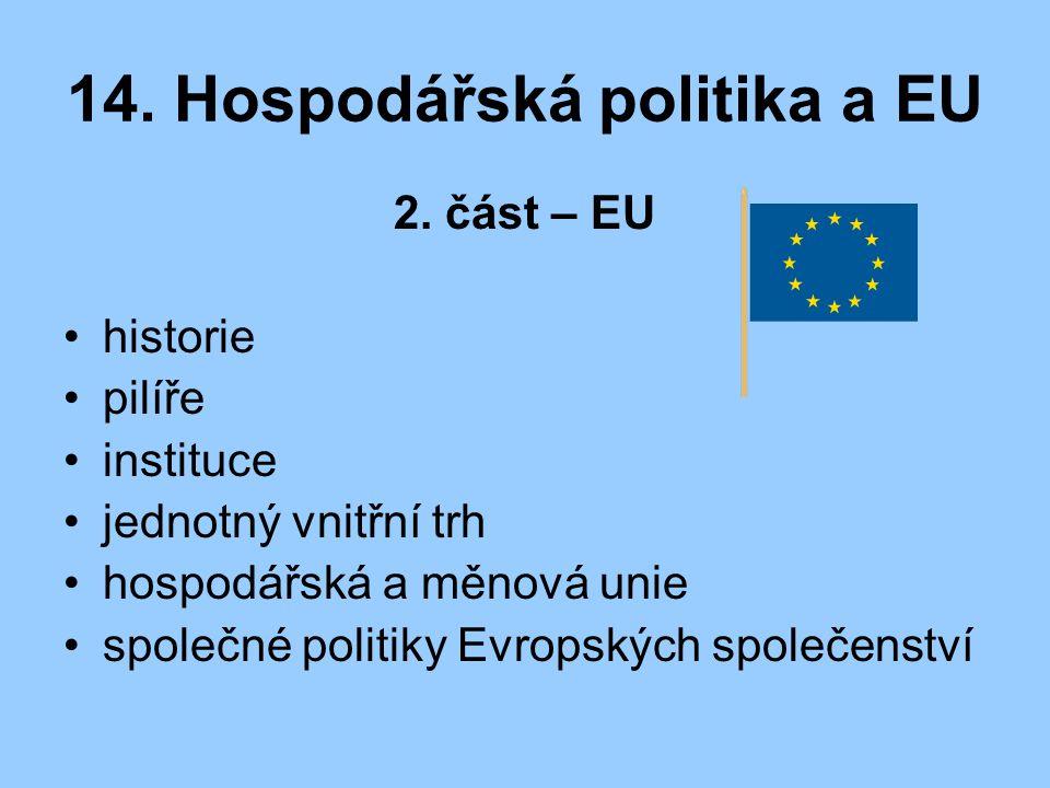 14. Hospodářská politika a EU 2. část – EU historie pilíře instituce jednotný vnitřní trh hospodářská a měnová unie společné politiky Evropských spole