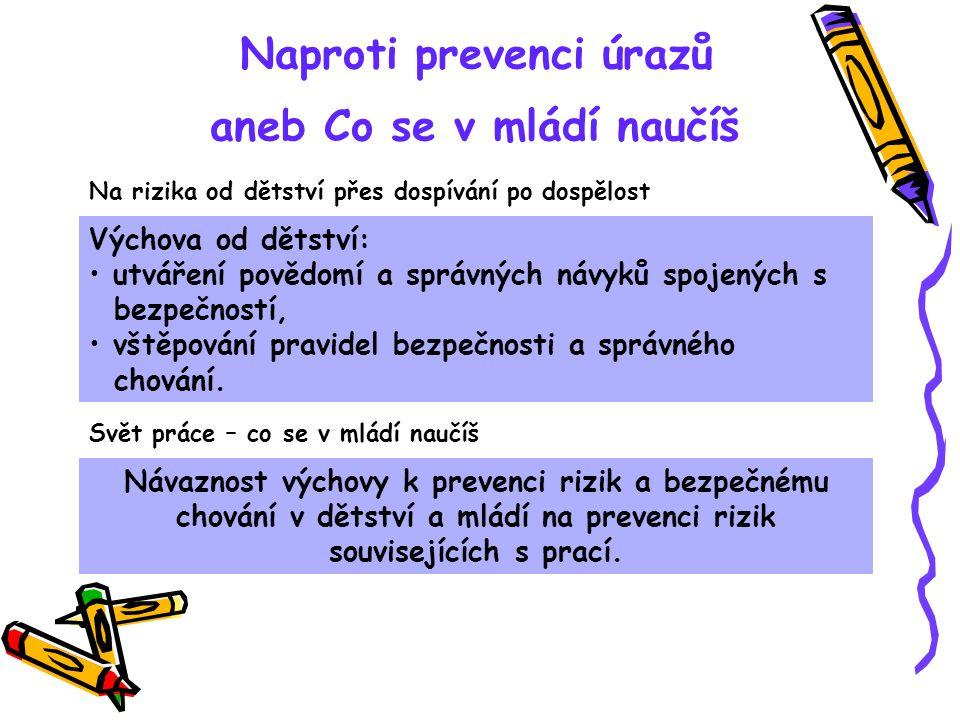 Naproti prevenci úrazů aneb Co se v mládí naučíš Návaznost výchovy k prevenci rizik a bezpečnému chování v dětství a mládí na prevenci rizik souvisejí