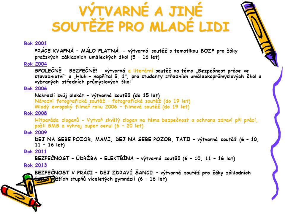 VÝTVARNÉ A JINÉ SOUTĚŽE PRO MLADÉ LIDI Rok 2001 PRÁCE KVAPNÁ – MÁLO PLATNÁ! - výtvarná soutěž s tematikou BOZP pro žáky pražských základních uměleckýc