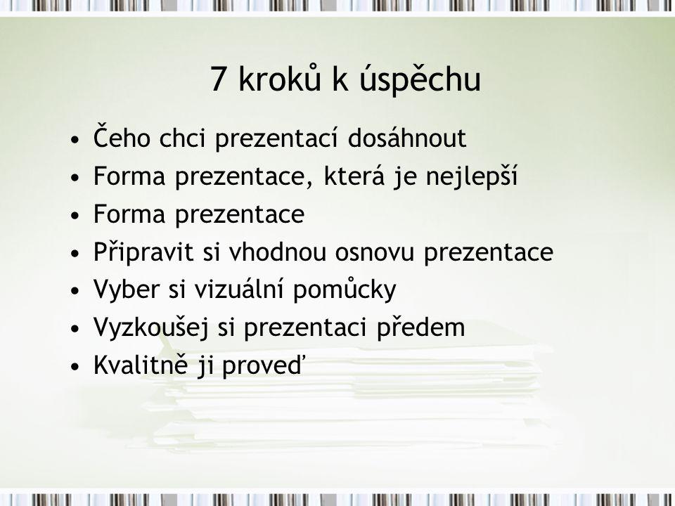 7 kroků k úspěchu Čeho chci prezentací dosáhnout Forma prezentace, která je nejlepší Forma prezentace Připravit si vhodnou osnovu prezentace Vyber si