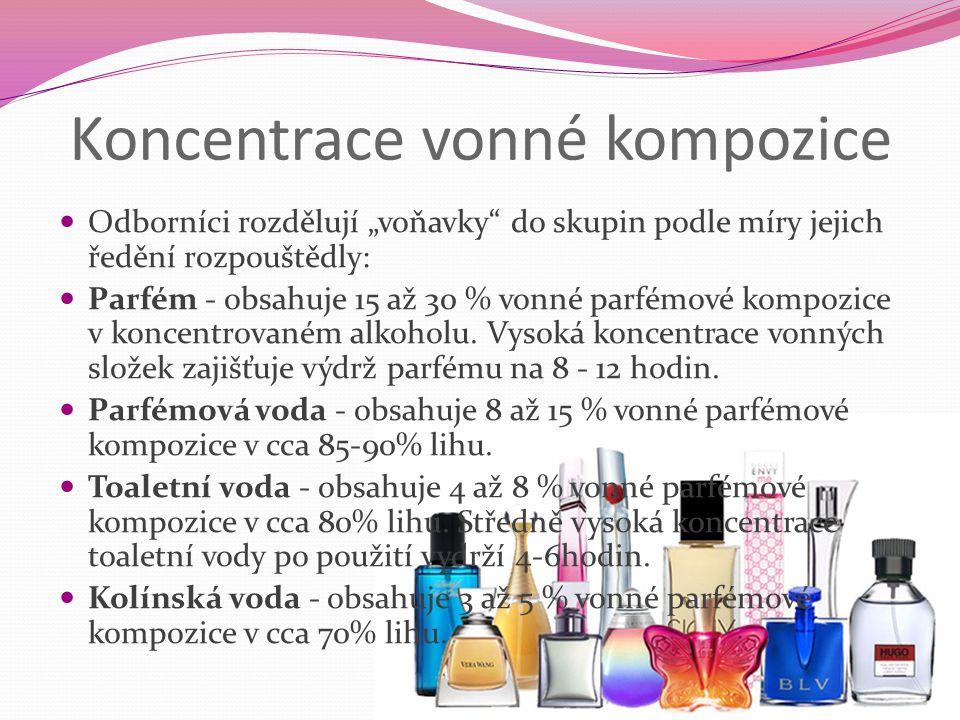 """Koncentrace vonné kompozice Odborníci rozdělují """"voňavky"""" do skupin podle míry jejich ředění rozpouštědly: Parfém - obsahuje 15 až 30 % vonné parfémov"""