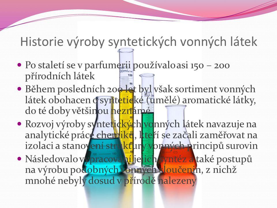 Historie výroby syntetických vonných látek Po staletí se v parfumerii používalo asi 150 – 200 přírodních látek Během posledních 200 let byl však sorti
