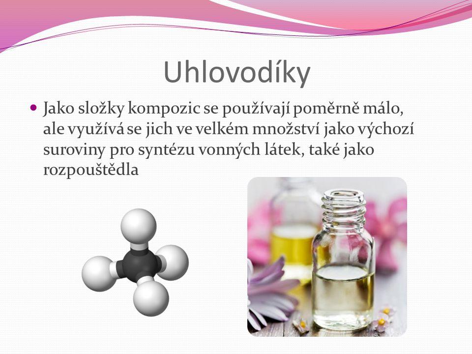 Uhlovodíky Jako složky kompozic se používají poměrně málo, ale využívá se jich ve velkém množství jako výchozí suroviny pro syntézu vonných látek, tak