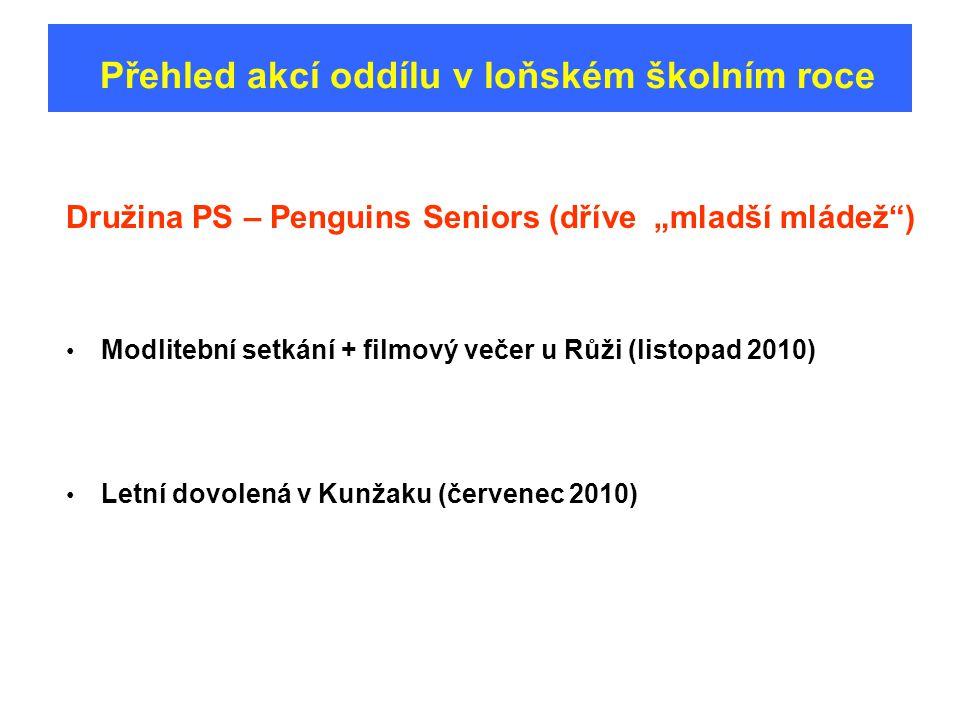 """Přehled akcí oddílu v loňském školním roce Družina PS – Penguins Seniors (dříve """"mladší mládež ) Modlitební setkání + filmový večer u Růži (listopad 2010) Letní dovolená v Kunžaku (červenec 2010)"""