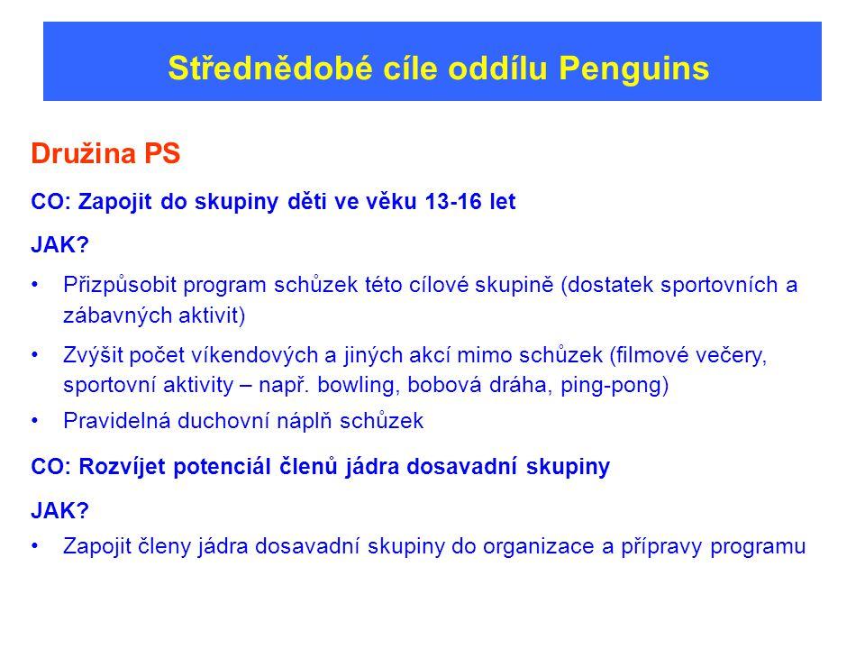 Střednědobé cíle oddílu Penguins Družina PS CO: Zapojit do skupiny děti ve věku 13-16 let JAK.