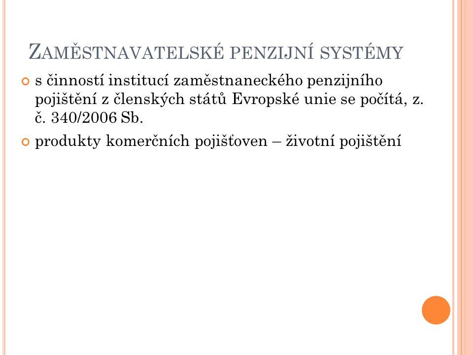 Z AMĚSTNAVATELSKÉ PENZIJNÍ SYSTÉMY s činností institucí zaměstnaneckého penzijního pojištění z členských států Evropské unie se počítá, z. č. 340/2006