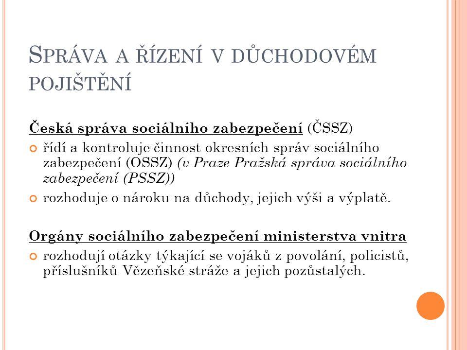 S PRÁVA A ŘÍZENÍ V DŮCHODOVÉM POJIŠTĚNÍ Česká správa sociálního zabezpečení (ČSSZ) řídí a kontroluje činnost okresních správ sociálního zabezpečení (O
