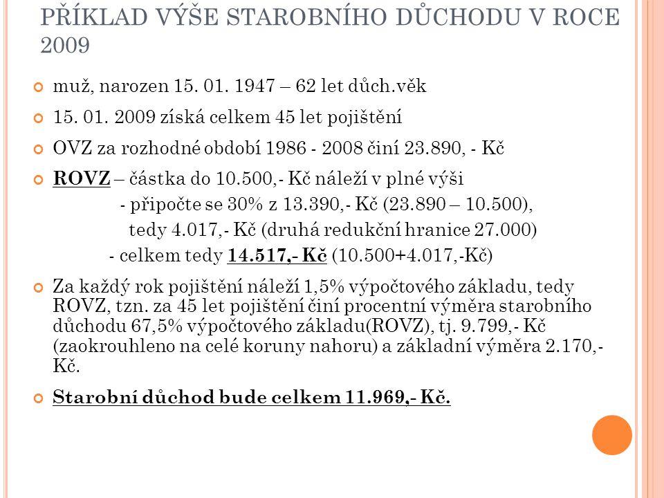 PŘÍKLAD VÝŠE STAROBNÍHO DŮCHODU V ROCE 2009 muž, narozen 15. 01. 1947 – 62 let důch.věk 15. 01. 2009 získá celkem 45 let pojištění OVZ za rozhodné obd