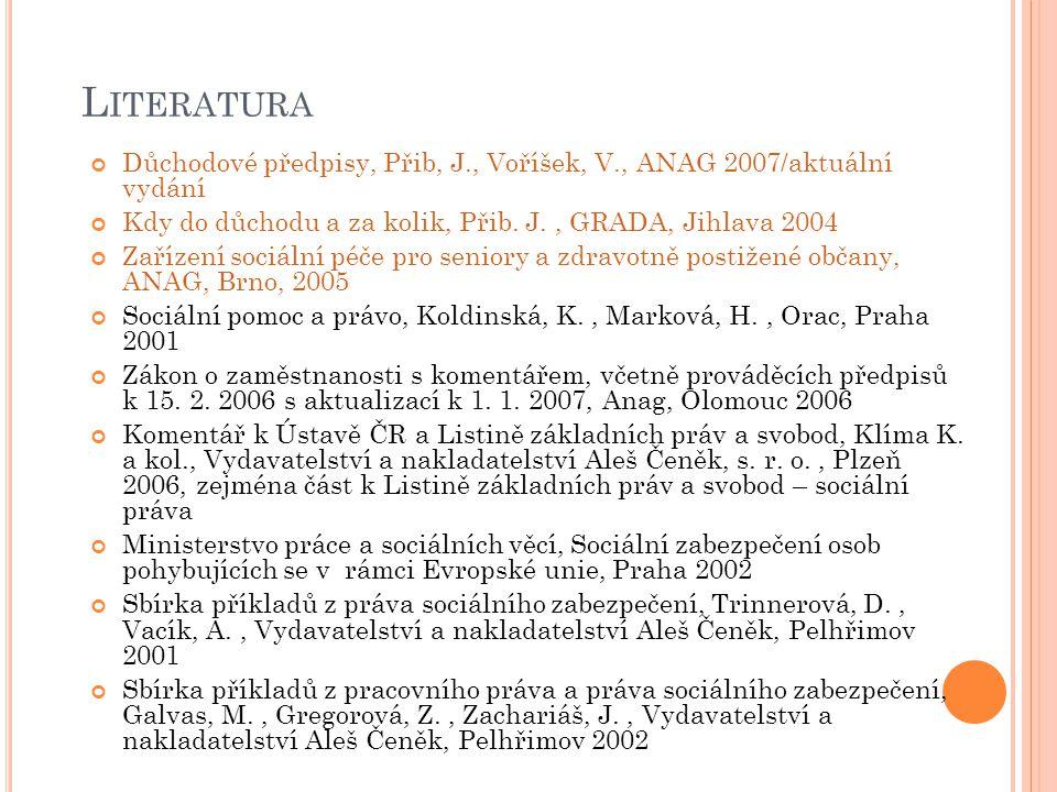 L ITERATURA Důchodové předpisy, Přib, J., Voříšek, V., ANAG 2007/aktuální vydání Kdy do důchodu a za kolik, Přib. J., GRADA, Jihlava 2004 Zařízení soc