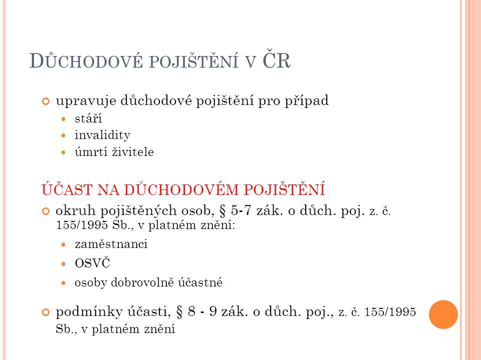 D ŮCHODOVÉ POJIŠTĚNÍ V ČR upravuje důchodové pojištění pro případ stáří invalidity úmrtí živitele ÚČAST NA DŮCHODOVÉM POJIŠTĚNÍ okruh pojištěných osob