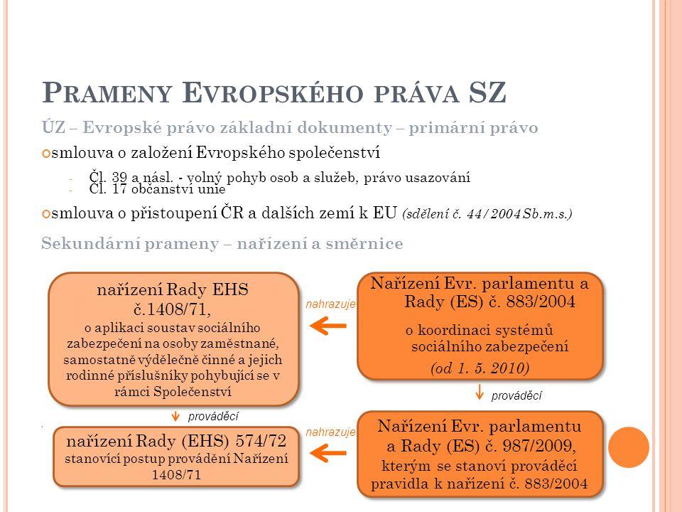 ÚZ – Evropské právo základní dokumenty – primární právo smlouva o založení Evropského společenství - Čl. 39 a násl. - volný pohyb osob a služeb, právo