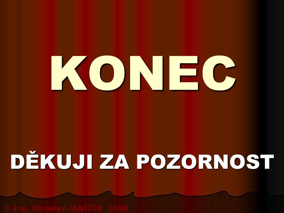 KONEC DĚKUJI ZA POZORNOST © Ing. Miroslav JANÍČEK 2008