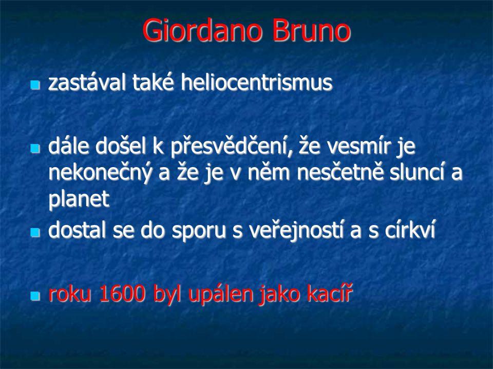 Giordano Bruno zastával také heliocentrismus zastával také heliocentrismus dále došel k přesvědčení, že vesmír je nekonečný a že je v něm nesčetně sluncí a planet dále došel k přesvědčení, že vesmír je nekonečný a že je v něm nesčetně sluncí a planet dostal se do sporu s veřejností a s církví dostal se do sporu s veřejností a s církví roku 1600 byl upálen jako kacíř roku 1600 byl upálen jako kacíř