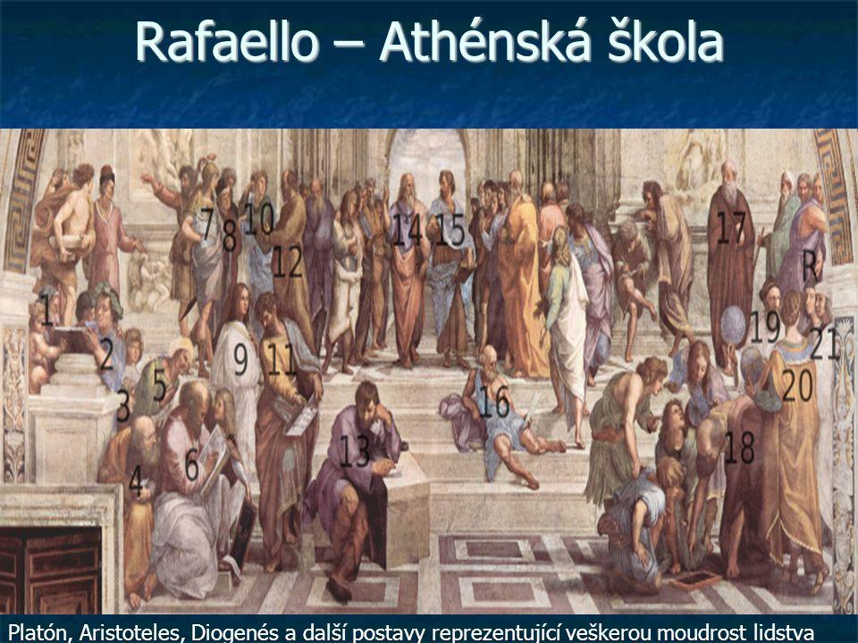 Rafaello – Athénská škola Platón, Aristoteles, Diogenés a další postavy reprezentující veškerou moudrost lidstva