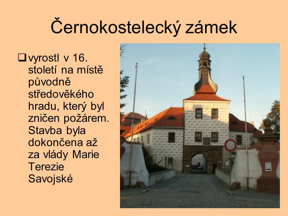 Černokostelecký zámek  vyrostl v 16.