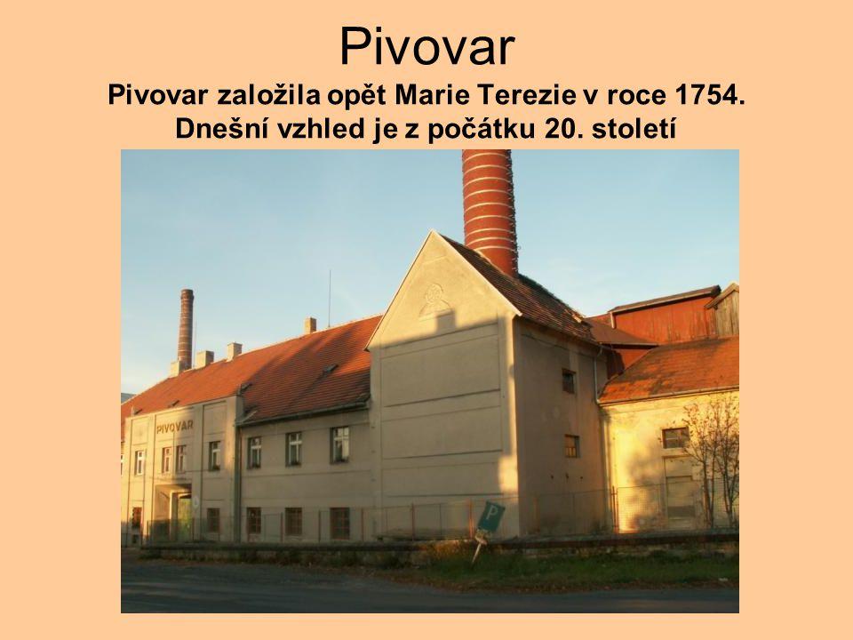 Pivovar Pivovar založila opět Marie Terezie v roce 1754. Dnešní vzhled je z počátku 20. století