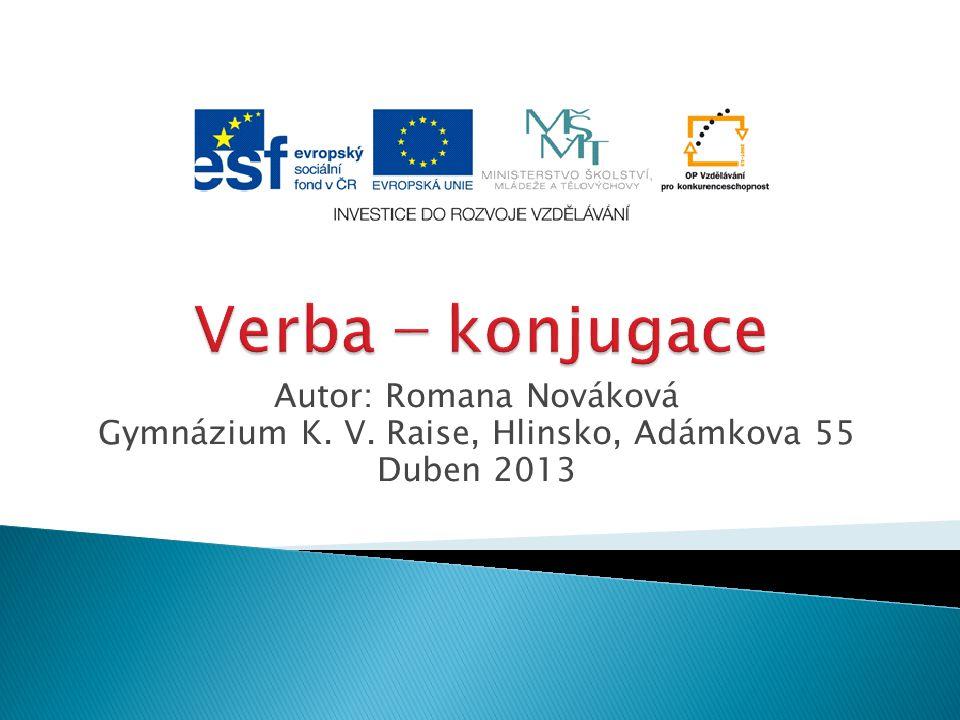 Autor: Romana Nováková Gymnázium K. V. Raise, Hlinsko, Adámkova 55 Duben 2013