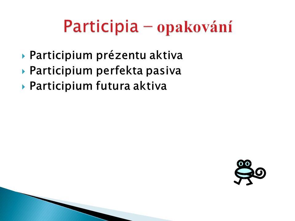  Participium prézentu aktiva  Participium perfekta pasiva  Participium futura aktiva