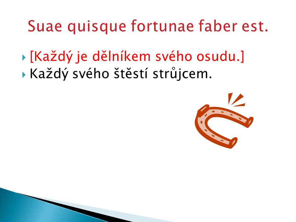  [Každý je dělníkem svého osudu.]  Každý svého štěstí strůjcem.