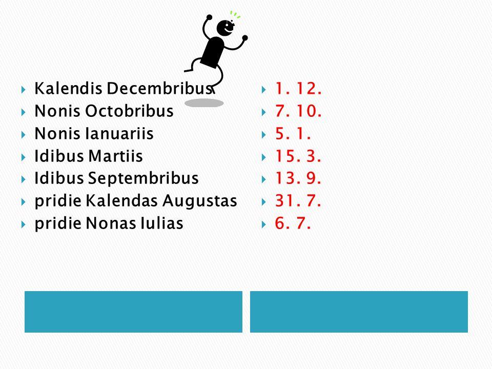  Kalendis Decembribus  Nonis Octobribus  Nonis Ianuariis  Idibus Martiis  Idibus Septembribus  pridie Kalendas Augustas  pridie Nonas Iulias 