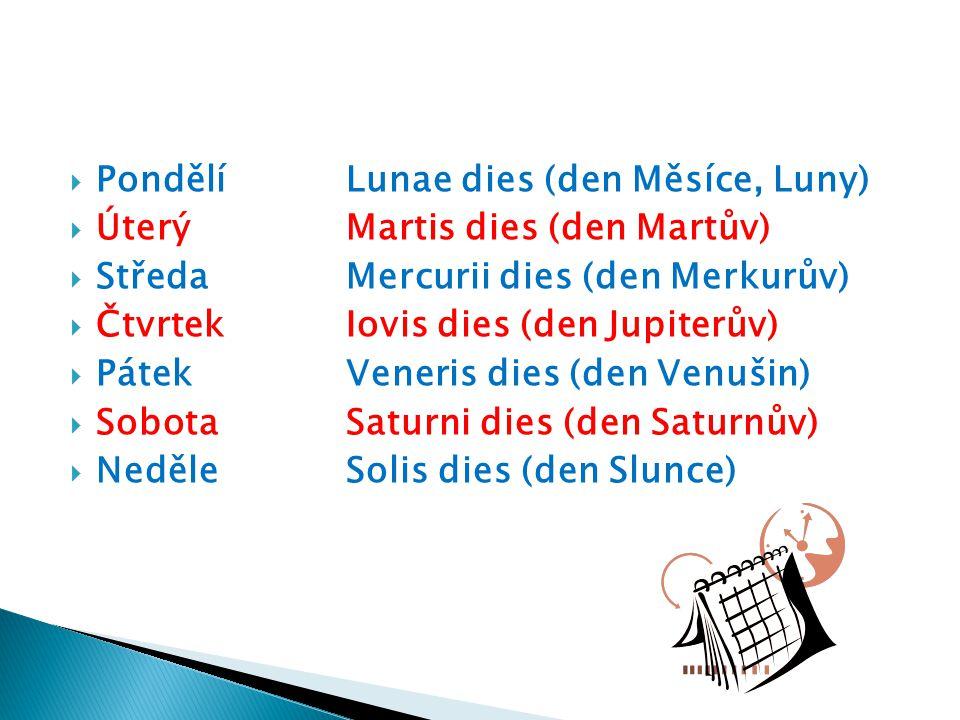  PondělíLunae dies (den Měsíce, Luny)  ÚterýMartis dies (den Martův)  StředaMercurii dies (den Merkurův)  ČtvrtekIovis dies (den Jupiterův)  Páte