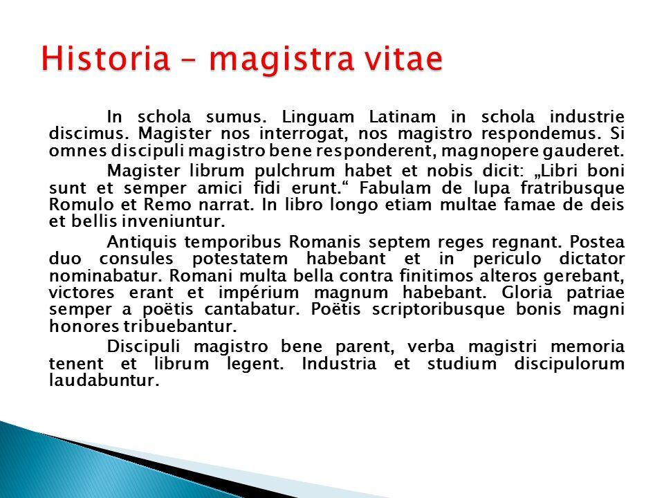 In schola sumus. Linguam Latinam in schola industrie discimus.
