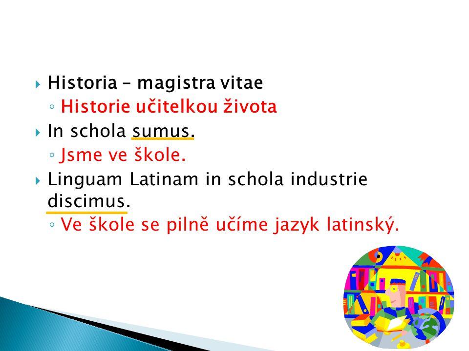  Historia – magistra vitae ◦ Historie učitelkou života  In schola sumus.