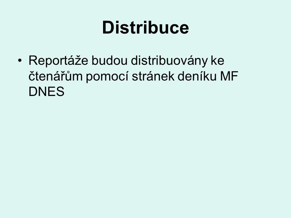 Distribuce Reportáže budou distribuovány ke čtenářům pomocí stránek deníku MF DNES