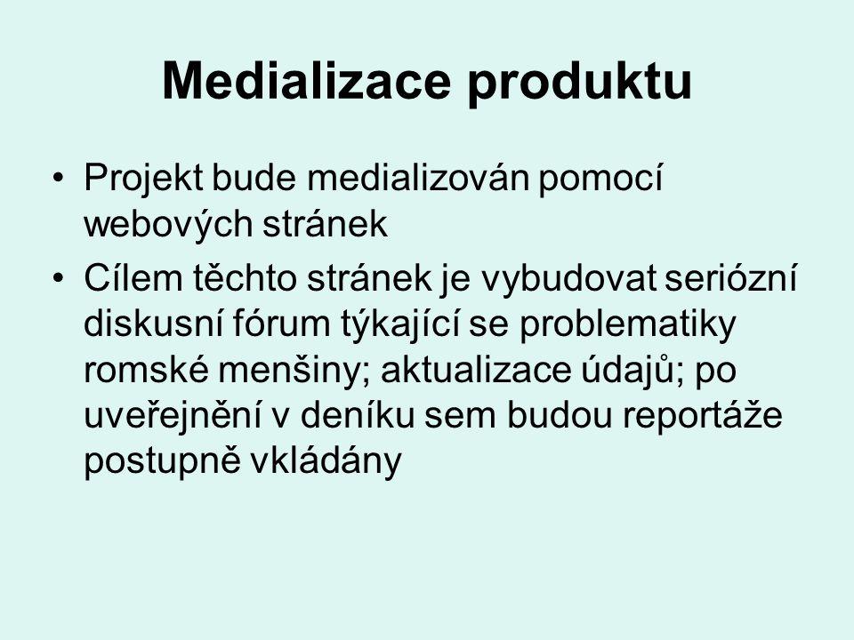 Medializace produktu Projekt bude medializován pomocí webových stránek Cílem těchto stránek je vybudovat seriózní diskusní fórum týkající se problematiky romské menšiny; aktualizace údajů; po uveřejnění v deníku sem budou reportáže postupně vkládány