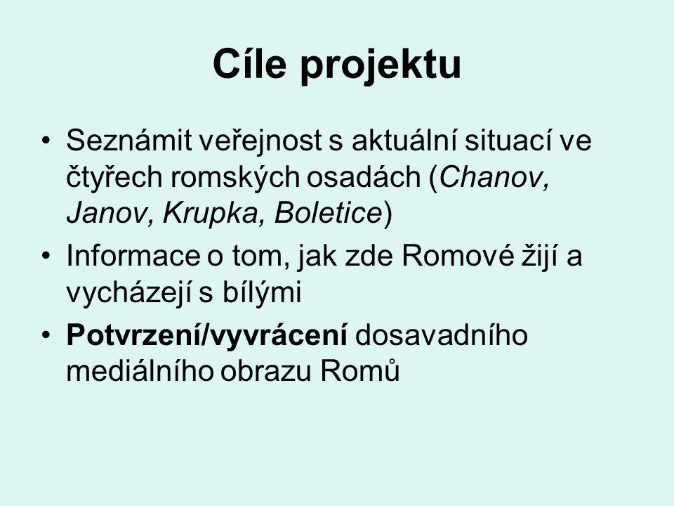 Cíle projektu Seznámit veřejnost s aktuální situací ve čtyřech romských osadách (Chanov, Janov, Krupka, Boletice) Informace o tom, jak zde Romové žijí a vycházejí s bílými Potvrzení/vyvrácení dosavadního mediálního obrazu Romů