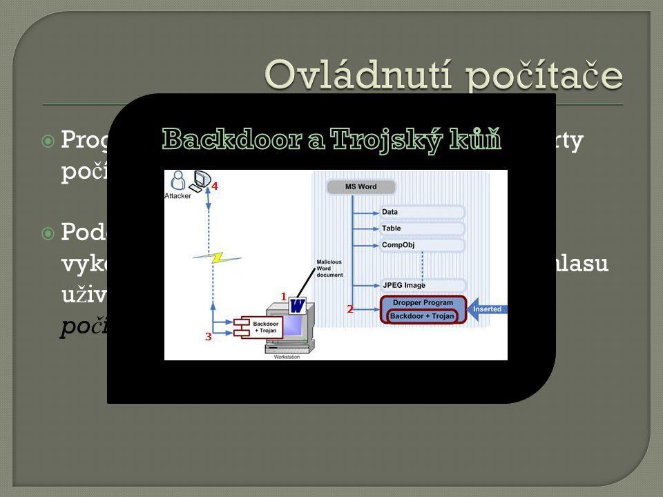  Program typu backdoor otev ř e n ě které porty po č íta č e a naslouchá povel ů m zven č í.