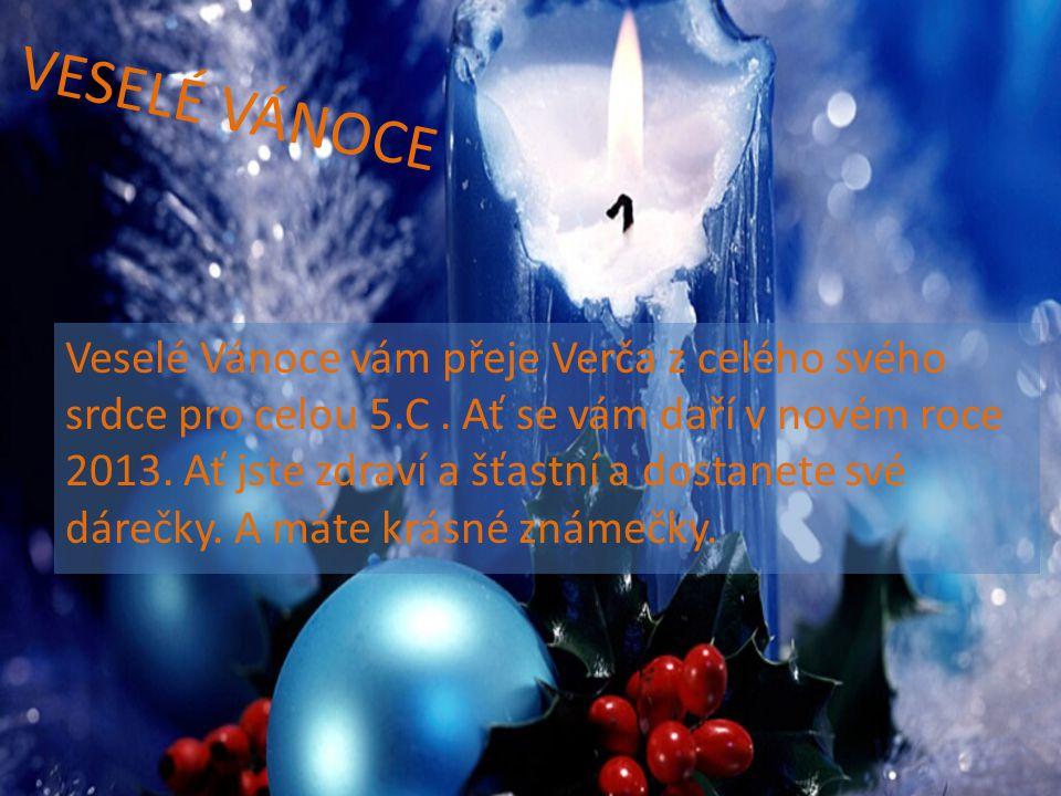 VESELÉ VÁNOCE Veselé Vánoce vám přeje Verča z celého svého srdce pro celou 5.C. Ať se vám daří v novém roce 2013. Ať jste zdraví a šťastní a dostanete