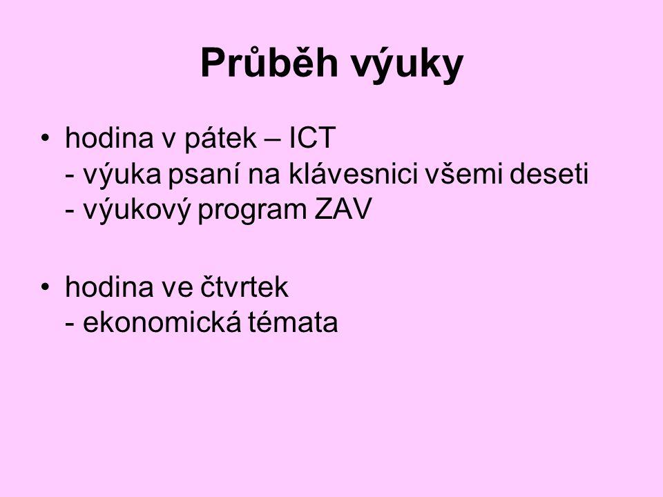Průběh výuky hodina v pátek – ICT - výuka psaní na klávesnici všemi deseti - výukový program ZAV hodina ve čtvrtek - ekonomická témata