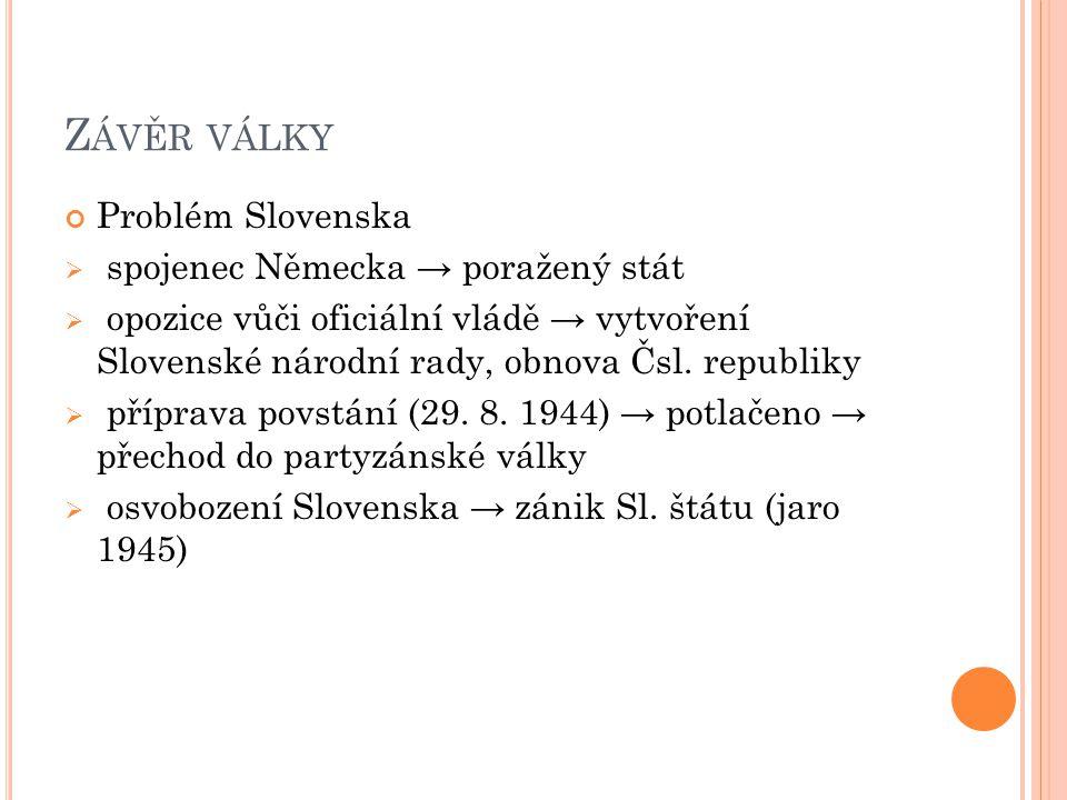 Z ÁVĚR VÁLKY Problém Slovenska  spojenec Německa → poražený stát  opozice vůči oficiální vládě → vytvoření Slovenské národní rady, obnova Čsl. repub