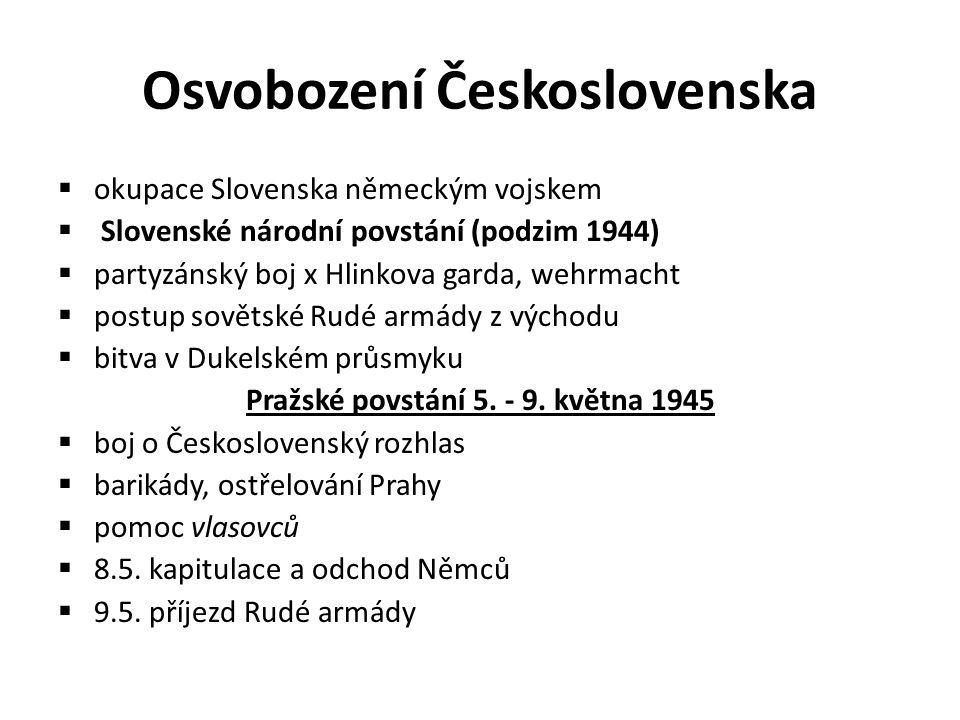 Osvobození Československa  okupace Slovenska německým vojskem  Slovenské národní povstání (podzim 1944)  partyzánský boj x Hlinkova garda, wehrmach
