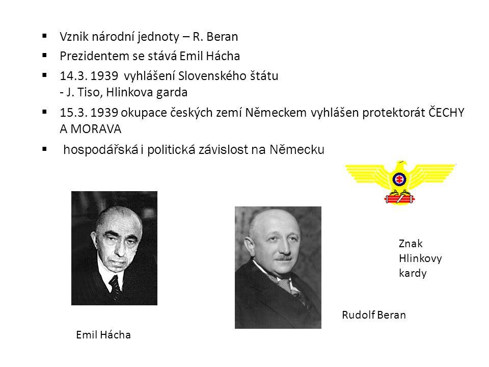  Vznik národní jednoty – R. Beran  Prezidentem se stává Emil Hácha  14.3. 1939 vyhlášení Slovenského štátu - J. Tiso, Hlinkova garda  15.3. 1939 o