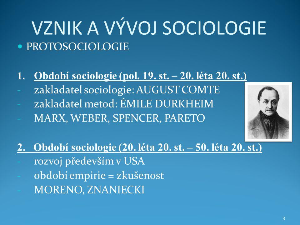 VZNIK A VÝVOJ SOCIOLOGIE 3.Období sociologie (50.