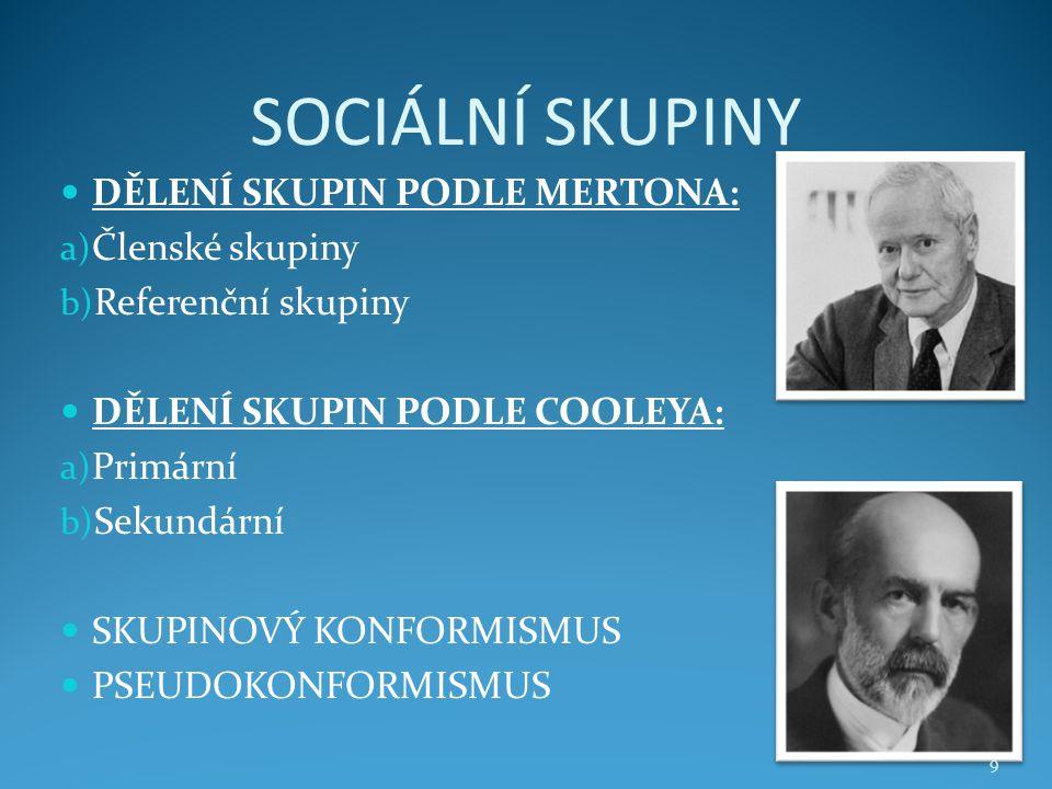 SOCIÁLNÍ SKUPINY DĚLENÍ SKUPIN PODLE MERTONA: a) Členské skupiny b) Referenční skupiny DĚLENÍ SKUPIN PODLE COOLEYA: a) Primární b) Sekundární SKUPINOV