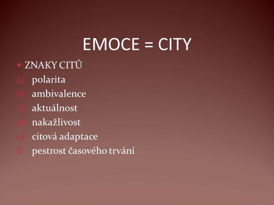 EMOCE = CITY ZNAKY CITŮ a) polarita b) ambivalence c) aktuálnost d) nakažlivost e) citová adaptace f) pestrost časového trvání