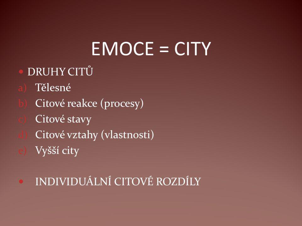EMOCE = CITY DRUHY CITŮ a) Tělesné b) Citové reakce (procesy) c) Citové stavy d) Citové vztahy (vlastnosti) e) Vyšší city INDIVIDUÁLNÍ CITOVÉ ROZDÍLY