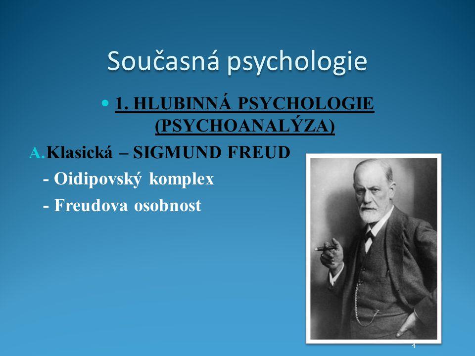 Současná psychologie 1. HLUBINNÁ PSYCHOLOGIE (PSYCHOANALÝZA) A. Klasická – SIGMUND FREUD - Oidipovský komplex - Freudova osobnost 4