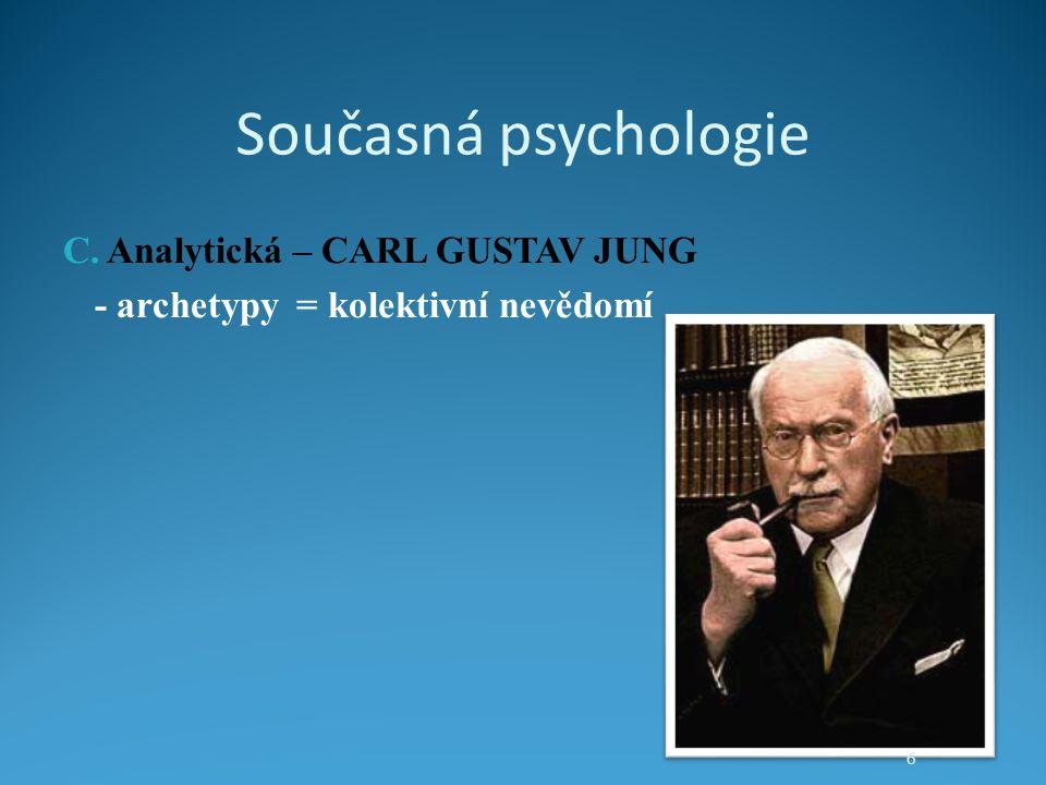 Současná psychologie C. Analytická – CARL GUSTAV JUNG - archetypy = kolektivní nevědomí 6