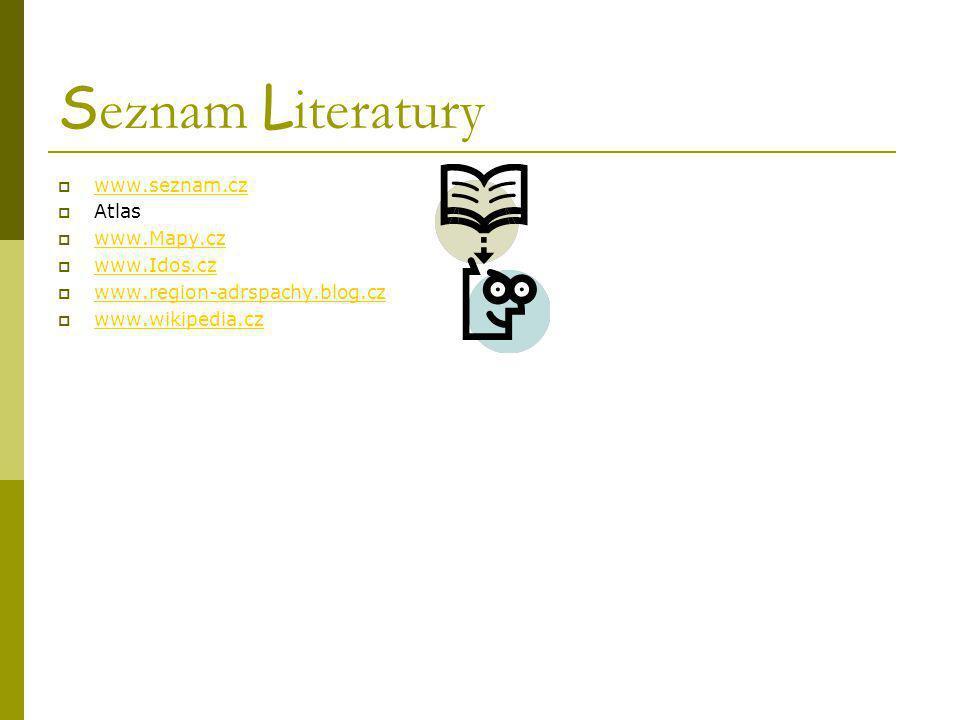 S eznam L iteratury  www.seznam.cz www.seznam.cz  Atlas  www.Mapy.cz www.Mapy.cz  www.Idos.cz www.Idos.cz  www.region-adrspachy.blog.cz www.regio