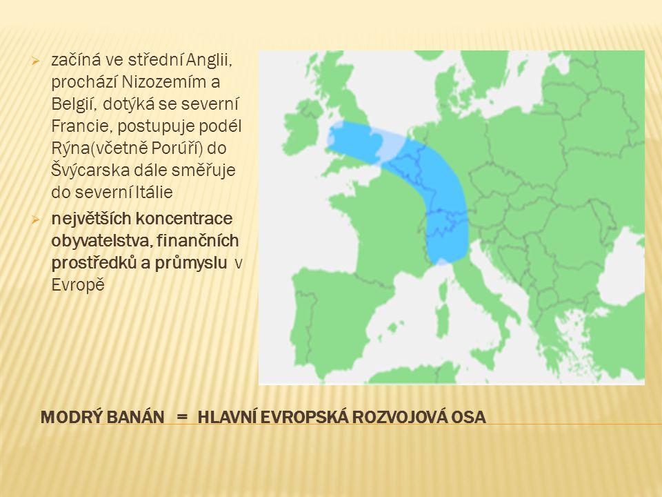 MODRÝ BANÁN = HLAVNÍ EVROPSKÁ ROZVOJOVÁ OSA  začíná ve střední Anglii, prochází Nizozemím a Belgií, dotýká se severní Francie, postupuje podél Rýna(v